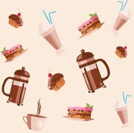 Coffee and cakes seamless background