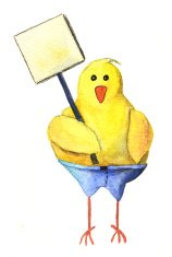 Watercolor Chicken holding blank sign