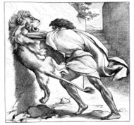 Victorian bible illustration Samson slays the young lion