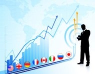 Businessman with World Map Background and Stock Graph