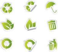 Ecological stickers icon set