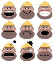 Icon ( Emoticons ) - Construction Worker in various moods