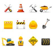 Construction Site Icon Set | Elegant Series