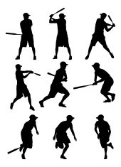 Baseball players in action