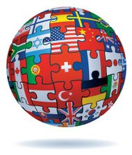 global jigsaw with flags