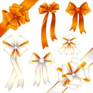 Golden white bow and ribbon set