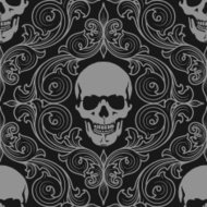 florall pattern fith skulls