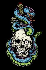 Skull Snake and Dagger Tattoo Color