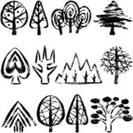 Trees by hand-drawn