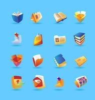 Realistic icons for books and papers