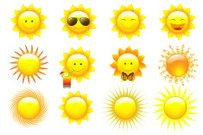 Icons Set Of Vector Suns
