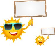 Cartoon Sun Character with Wooden Sign