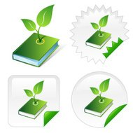 Isometric icon of green ecological book