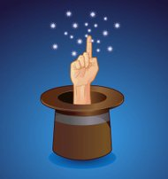 Pointing Finger Coming Out of a Magic Hat