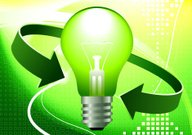 Green light bulb with double arrow on abstract Background
