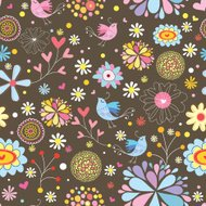 Flower seamless pattern with birds in love