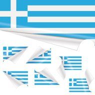Greek Flags behind Curled Paper