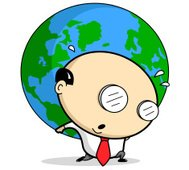 Cartoon Businessman Holding Up World