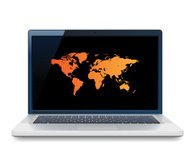 Laptop with orange World map