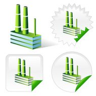 Isometric icon of green ecological factory