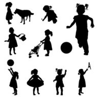 Silhouettes of playing girl.