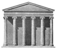 19th century engraving of an ancient Greek temple facade