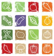 Vegetable doodle icon blocks