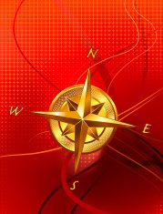 Golden Compass on abstract red background