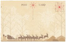 Santa & His Reindeer Postcard