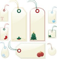 Shiny Beige Christmas or Winter Gift, Price Tags, Labels