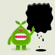 Green pear points at your message on oil slick