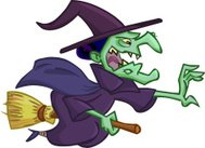 witch flying on a broomstick and wants to catch someone
