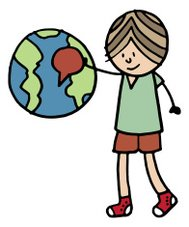 Boy with globe and pointer