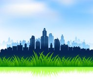 City Skyline with Grassy Field Background