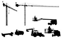 Giant construction cranes and other equipment