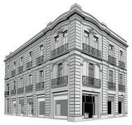 Corner view of a building