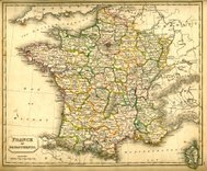 Antquie Map of France in Departments