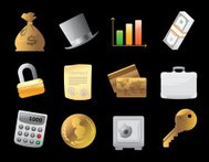 Icons for  finance, money and security