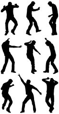 Male silhouettes dancing