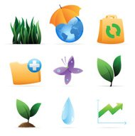 Icons for nature, energy and ecology