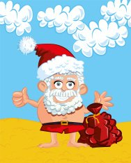 Smiling Santa on the beach cartoon