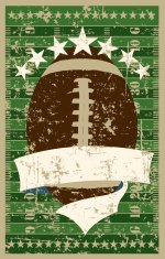 Football Field with Ball and Banner Retro Grunge