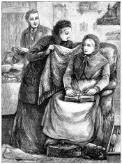 Man and woman caring for an old lady (Victorian illustration)