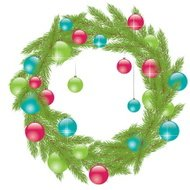 Christmas green Wreath with Fur-tree. Vector illustration