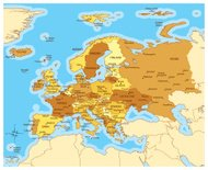Europe map with countries and cities