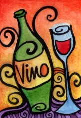 Whimsical Wine Glass and Bottle