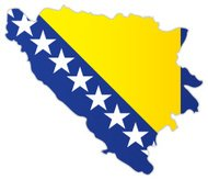 Bosnia and Herzegovina map with flag