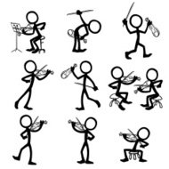 Stick Figure People Violin