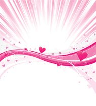 Pink Hearts Wave with Light Burst