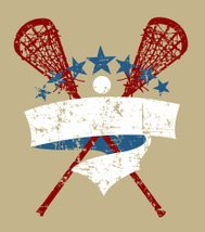 Vintage Lacrosse Sticks with Star Banner and Grunge